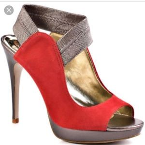 Carlos Santana Red & Bronze Platform Heels / Pumps